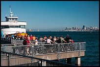 Arrival of San Francisco ferry, Sausalito. California, USA ( color)