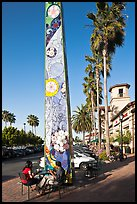 Decorated obelisk in shopping mall, Sunnyvale. California, USA