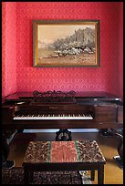 Piano and landscape painting, John Muir Home, John Muir National Historic Site. Martinez, California, USA ( color)