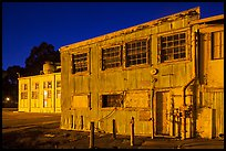 Mare Island naval shipyard at night, Vallejo. San Pablo Bay, California, USA (color)