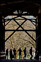 Silhouettes of people dancing inside covered bridge, Felton. California, USA ( color)