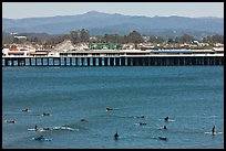 Surfers and municipal wharf. Santa Cruz, California, USA (color)
