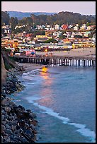 Fishing Pier and village at dusk. Capitola, California, USA ( color)