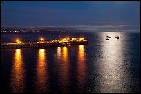 Pier and yachts with moon reflection. Capitola, California, USA ( color)