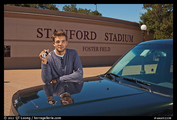 Student showing car keys. Stanford University, California, USA