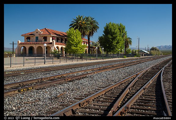 Kelso Depot across railroad tracks. Mojave National Preserve, California, USA