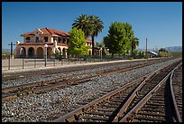 Kelso Depot across railroad tracks. Mojave National Preserve, California, USA (color)
