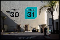Shadows outside the sound stages, Studios at Paramount lot. Hollywood, Los Angeles, California, USA (color)