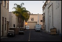 Carts, production trails, and stages at dusk, Paramount lot. Hollywood, Los Angeles, California, USA (color)