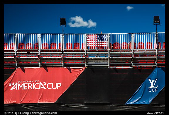 Americas cup empty bleachers from behind. San Francisco, California, USA