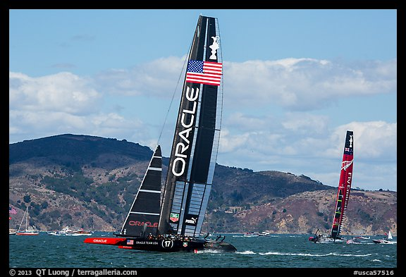 USA boat leading New Zealand boat during upwind leg of America's cup final race. San Francisco, California, USA