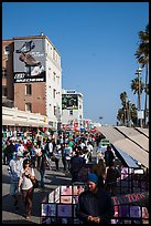 Crowded Ocean Front Walk in summer. Venice, Los Angeles, California, USA ( color)