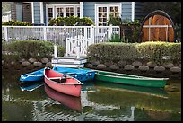 Rowboats in front of house, Venice Canal Historic District. Venice, Los Angeles, California, USA ( color)