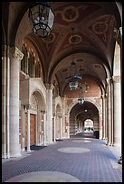 Gallery in Romanesque Revival style original building, UCLA, Westwood. Los Angeles, California, USA ( color)