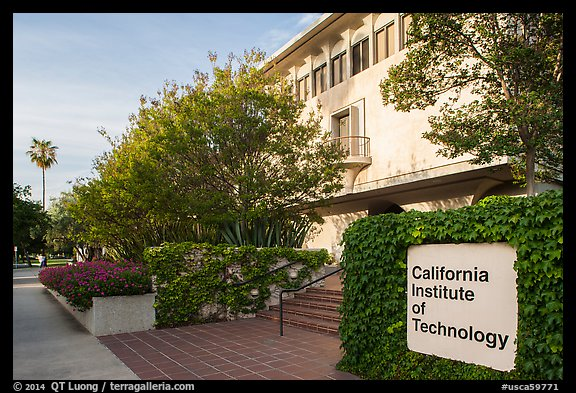 California Institute of Technology campus with sign. Pasadena, Los Angeles, California, USA (color)