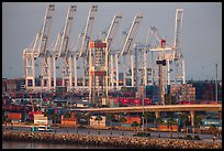 Containers and cranes in Long Beach port. Long Beach, Los Angeles, California, USA ( color)