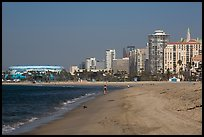 Beach and high-rises. Long Beach, Los Angeles, California, USA ( color)