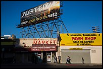 Street with liquor and pawn shops. Hollywood, Los Angeles, California, USA ( color)