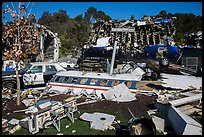 Movie set consisting of plane crash site, Universal Studios. Universal City, Los Angeles, California, USA ( color)