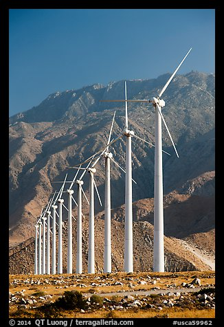 Wind farm and mountains at San Gorgonio Pass. California, USA (color)