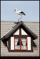 Stork on roof window. Solvang, California, USA ( color)