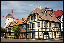 Half-timbered buildings and windmill. Solvang, California, USA ( color)