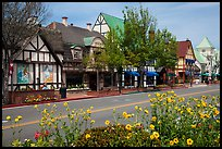 Street and flowers. Solvang, California, USA ( color)