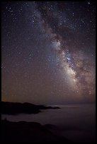 Sky at night with Milky Way above sea of clouds, Garrapata State Park. Big Sur, California, USA ( color)