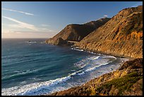 Cove lighted by setting sun. Big Sur, California, USA ( color)
