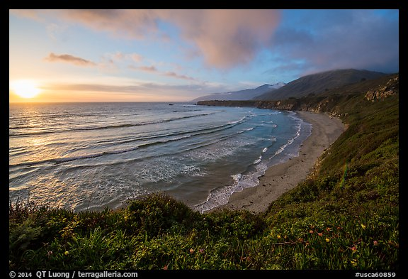 Sun setting, Sand Dollar Beach. Big Sur, California, USA (color)