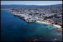 Aerial view of Aquarium and Cannery Row waterfront. Monterey, California, USA ( color)