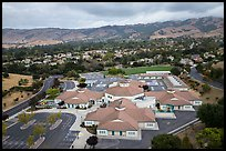 Aerial view of Silver Oak school and Evergreen hills. San Jose, California, USA ( color)
