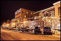 Wintry street at night, Truckee. California, USA ( color)