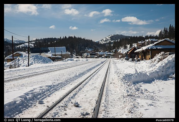 Railroad tracks in winter, Truckee. California, USA (color)