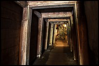 Gallery with wooden support beams, Gold Bug Mine, Placerville. California, USA ( color)