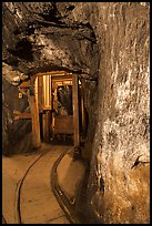 Gallery with tracks and ore car, Gold Bug Mine, Placerville. California, USA ( color)