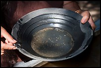 Hands holding pan with bits of gold, El Dorado County. California, USA ( color)