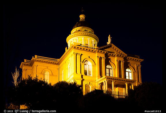 Placer County Courthouse at night, Auburn. Califoxrnia, USA (color)