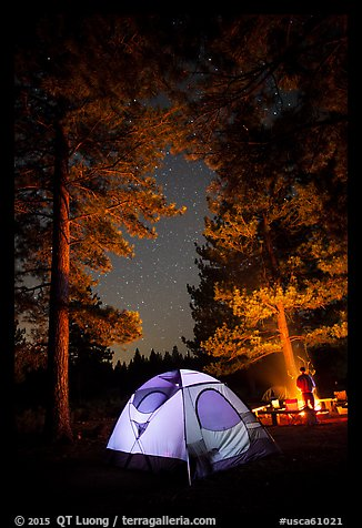 Tent and campfire at night,  Prosser Ranch Group Campground, Tahoe National Forest. California, USA (color)
