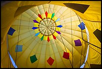 Looking up inside yellow hot air balloon. California, USA ( color)