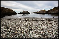 Beach covered with seaglass. Fort Bragg, California, USA ( color)