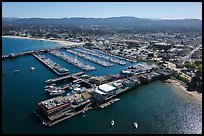 Aerial view of harbor and downtown. Monterey, California, USA ( color)