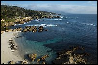 Aerial view of beach and costline, Cypress Point. Pebble Beach, California, USA ( color)