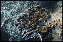 Aerial view of rocks, Cypress Point. Pebble Beach, California, USA ( color)