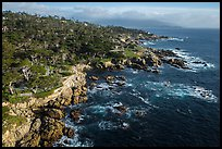 Aerial view of coastline, 17-mile drive. Pebble Beach, California, USA ( color)