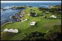 Aerial view of golf course on edge of coast. Pebble Beach, California, USA ( color)