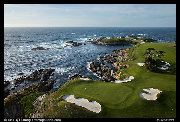 Aerial view of Cypress Point golf course. Pebble Beach, California, USA (color)