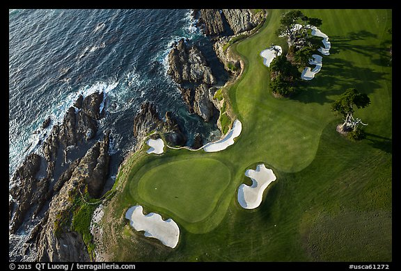 Aerial view of golf course and coastline. Pebble Beach, California, USA (color)