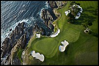 Aerial view of golf course and coastline. Pebble Beach, California, USA ( color)