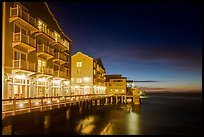 Waterfront hotels at night. Monterey, California, USA ( color)